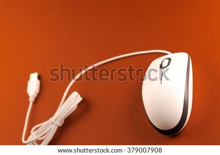 white computer mouse - stock photo