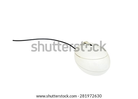 White computer mouse isolate on white background with dipping paths.