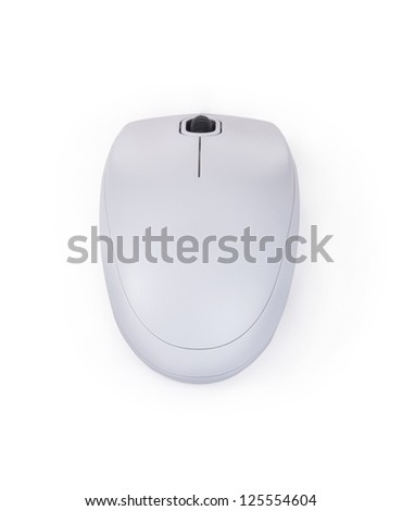 white computer wireless mouse isolated on white - stock photo