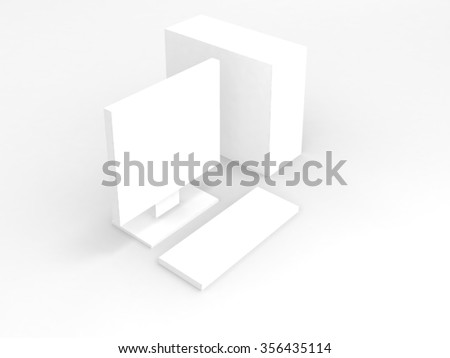 White computer with shadow on white background - stock photo