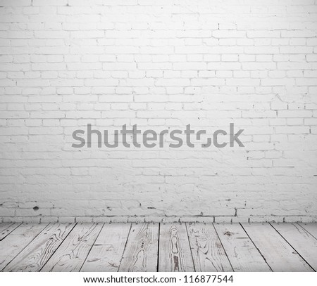 white concrete room and wooden floor