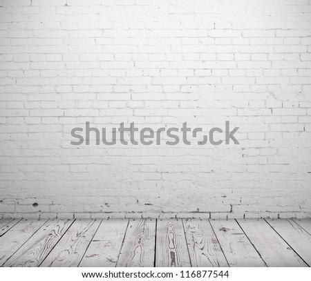 white concrete room and wooden floor - stock photo