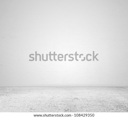white concrete wall and floor - stock photo