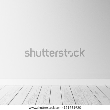 white concrete wall and wood floor - stock photo