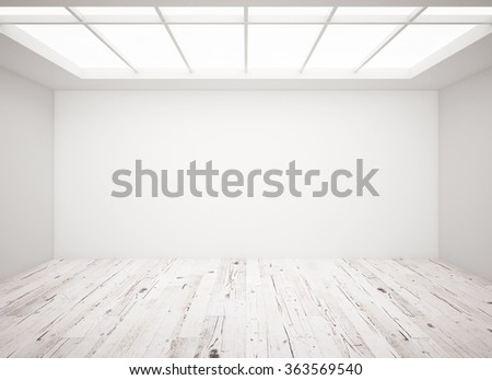 white concrete wall and wooden floor in loft - stock photo