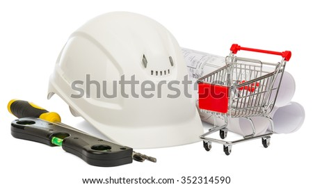 White construction helmet, builders level and shopping cart on isolated white background - stock photo