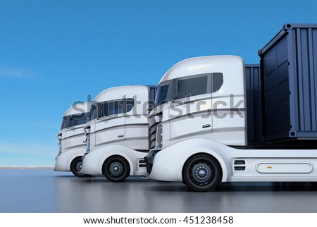 White container trucks arranged in line. 3D rendering image.