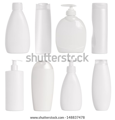 White containers and bottles isolated on white background - stock photo