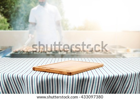 white cook and grill of fresh food and table