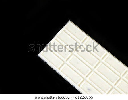 White cookie and cream chocolate bar with copy space