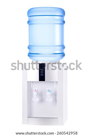 White cooler with bottle isolated on white. - stock photo