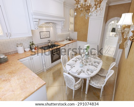 White corner kitchen in classical style with a dining table. 3D render.