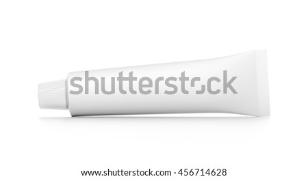 White cosmetic product cream toothpaste tube from front angle. 3D illustration isolated on white background. - stock photo