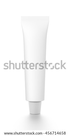White cosmetic product cream toothpaste tube from front angle. 3D illustration isolated on white background.