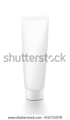 White cosmetic product cream toothpaste tube from front side angle. 3D illustration isolated on white background.