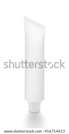 White cosmetic product cream toothpaste tube from isometric angle. 3D illustration isolated on white background.