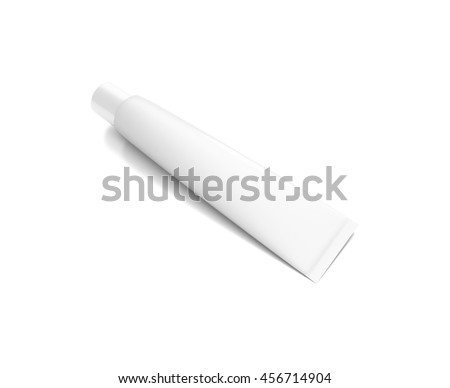 White cosmetic product cream toothpaste tube from top front angle. 3D illustration isolated on white background.