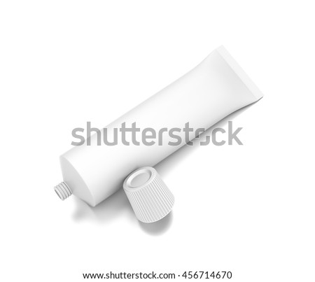 White cosmetic product cream toothpaste tube from top front closeup angle. 3D illustration isolated on white background. - stock photo