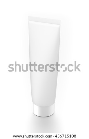 White cosmetic product cream toothpaste tube from top side angle. 3D illustration isolated on white background. - stock photo