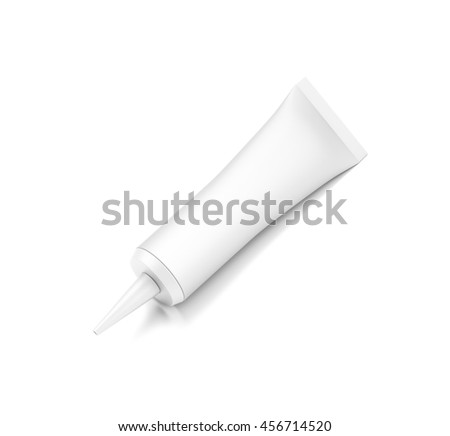 White cosmetic product cream tube from top front closeup angle. 3D illustration isolated on white background.