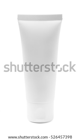 White cosmetic tube of cream or gel isolated on a white background