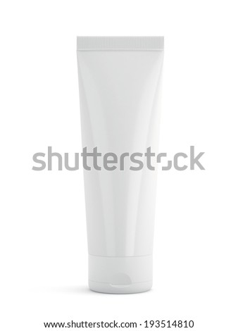 White cosmetic tube with cream isolated on white background  - stock photo
