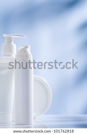 white cosmetical accessories - stock photo