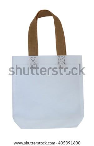 White cotton bag isolated on white background. - stock photo