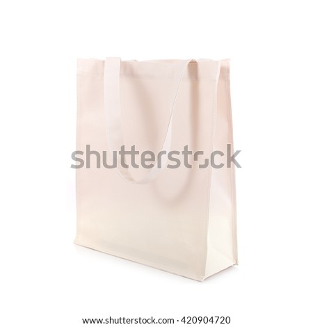 White cotton bag isolated on white background - stock photo