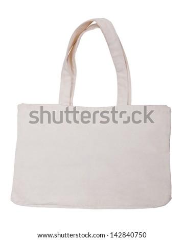 White cotton bag on white isolated background. - stock photo