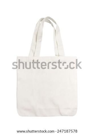 White cotton bag on white isolated background - stock photo