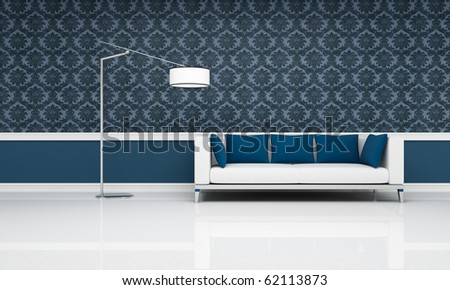 white couch with blue pillow against blue damask  wallpaper - rendering - stock photo