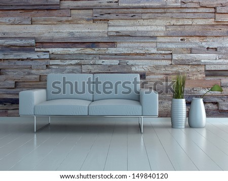 White couch with two vases against wooden wall - stock photo