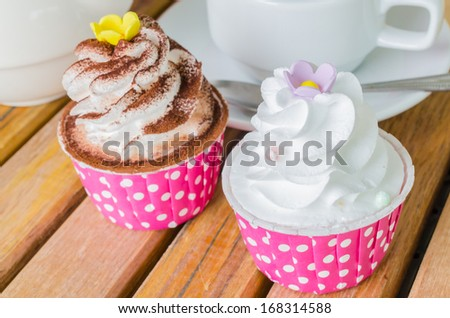 White cream&White chocolate cupcake - stock photo