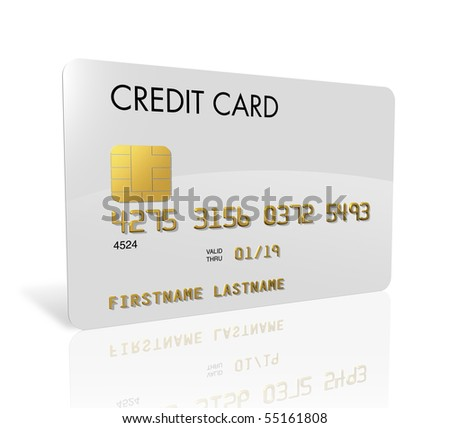 White credit card isolated on white with clipping path - stock photo