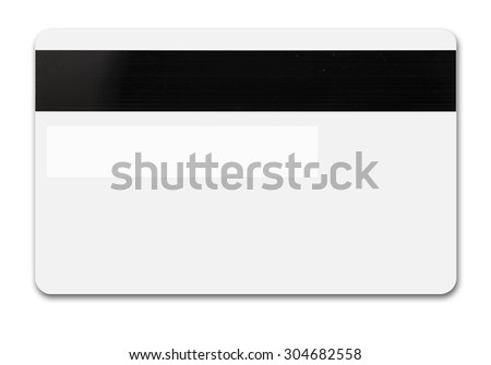 White credit card isolated path, type MC, back with tape and band for sign - stock photo