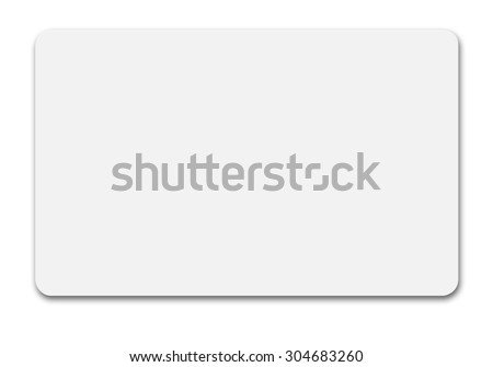 White credit card isolated path, type MC, empty, wo chip - stock photo