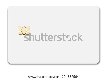 White credit card isolated path, type MC, front, new chip design - stock photo