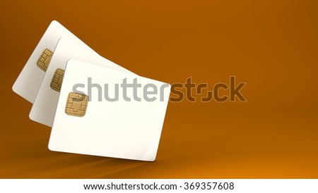 White credit card on brown background - stock photo
