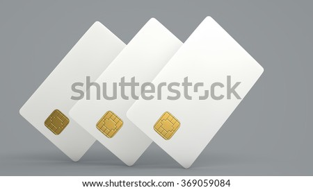 White credit card on gray background - stock photo