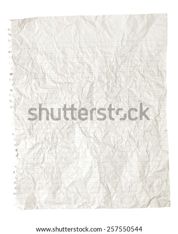 White Crinkled Or Crumpled Spiral Bound Torn Ruled Paper As Background - stock photo