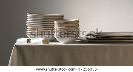 white crockery - stock photo