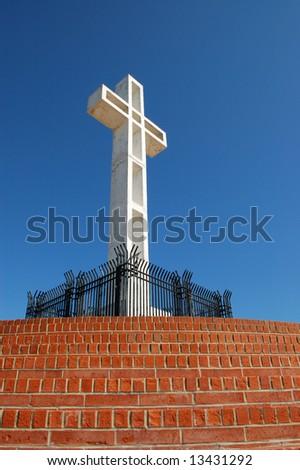 White cross; Mount Soledad Memorial; San Diego, California - stock photo