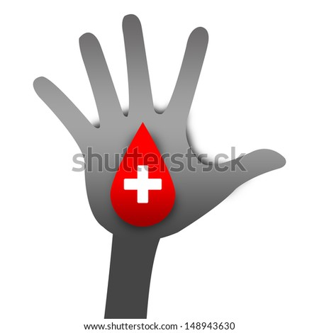 White Cross Sign With Red Blood Drop on Gray Hand For Blood Donation Concept Isolated On White Background  - stock photo