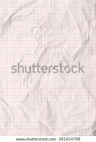 White crumpled millimeter paper with red lines.