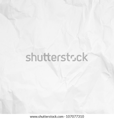 white crumpled paper background texture - stock photo
