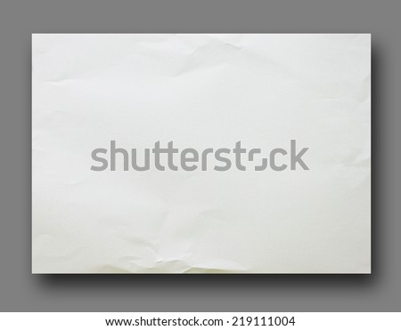 White crumpled paper on Gray background isolated - stock photo