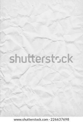White crumpled paper texture - stock photo