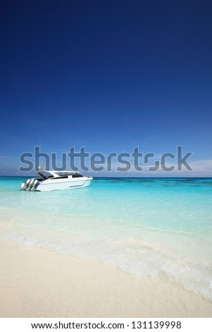 White crystal beach at Tachai Island, Thailand - stock photo