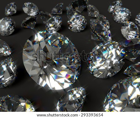 White crystals, gems on a black background - stock photo